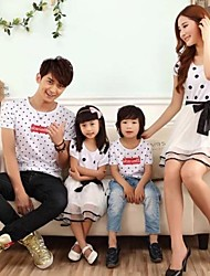 Недорогие -Family's Fashion Joker Leisure Parent Child Wave Point Short Sleeve T Shirt And Dress