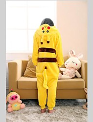 cheap -Kigurumi Pajamas with Slippers Pika Pika Onesie Pajamas Costume Coral fleece Yellow Cosplay For Kid's Animal Sleepwear Cartoon Halloween