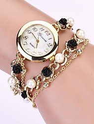 cheap -Women's Quartz Bracelet Watch Imitation Diamond Metal Band Pearls Elegant Fashion Black