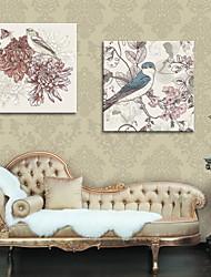 economico -allungato arte canvas fiori pittura decorativa e uccelli set di 2