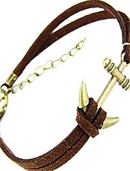cheap -Fashion Little Anchor Shape Leather Men's Charm Bracelet(1 Pc) Christmas Gifts
