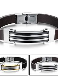Недорогие -Муж. Кожаные браслеты бижутерия Кожа Титановая сталь Бижутерия Назначение Свадьба Для вечеринок Повседневные Новогодние подарки