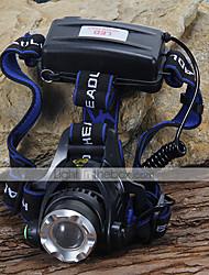 Torce frontali LED 1200 Lumens 3 Modo Cree XM-L T6 Batterie non incluse per Campeggio/Escursionismo/Speleologia Ciclismo Scalata Nero