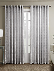 Rod Pocket Grommet Top Tab Top Double Pleated Two Panels Curtain Neoclassical , Curve Bedroom Polyester Material Curtains Drapes Home