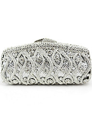 Women Bags All Seasons Metal Evening Bag Crystal/ Rhinestone for Event/Party Black Silver