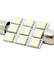 cheap -41mm 2W 9x5050 SMD LED 180lm Crystal Blue Lights Festoon Dome Reading Map License Plate Light Bulb for Car (DC 12V)