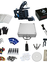 cheap -1 Gun Complete No Ink Tattoo Kit with Carbon Steel Tatoo Machine and Skull Pattern Power Supply