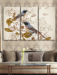 trasferimenti su tela di arte retrò fiori pittura decorativa e uccelli set di 3