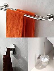 Недорогие -из нержавеющей стали 3 шт аксессуары для ванной комнаты установить кронштейн для полотенец и крюк робы и держатель для туалетной щетки