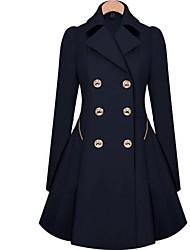 billige -Flettet,Dame Ensfarvet Vintage Arbejde Plusstørrelser-Frakke