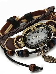 Недорогие -Жен. Часы-браслет Кварцевый Повседневные часы Кожа Группа Кулоны Богемные Мода Черный - Коричневый