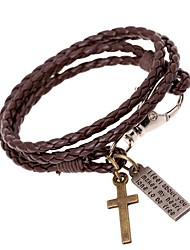 cheap -European Style Retro Punk Personality Woven Cross Pendant Leather Bracelet Christmas Gifts