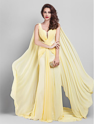cheap -Sheath / Column Plunging Neckline Court Train Georgette Prom / Formal Evening / Company Party Dress with Criss Cross Side Draping by TS
