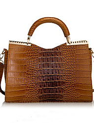 cheap -BLKL Fashion Crocodile Pattern Patent Leather Handbag Handbag (Brown)
