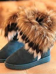 cheap -Women's Winter Snow Boots Suede Casual Flat Heel Feather Tassel Black Blue Yellow