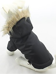 abordables -Chat Chien Manteaux Pulls à capuche Vêtements pour Chien Garder au chaud Coupe-vent Solide Noir Violet Rouge Vert Bleu Costume Pour les