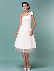 cheap -A-Line One Shoulder Knee Length Satin Tulle Wedding Dress with Flower by LAN TING BRIDE®