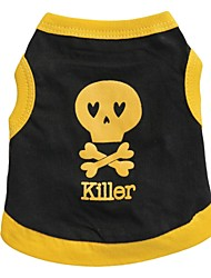 cheap -Cat Dog Shirt / T-Shirt Dog Clothes Heart Skull Black Yellow Blue Black/Yellow Cotton Costume For Pets