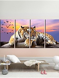 4 Pcs/Set Tiger Wall Sticker Wall Clock Home Decoration Background Picture