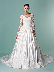 Ball Gown V-neck Cathedral Train Satin Tulle Wedding Dress with Beading Appliques by LAN TING BRIDE®
