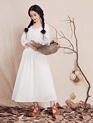 Robe Aux femmes Swing Vintage / Soirée , Couleur Pleine Col Arrondi Maxi Autres