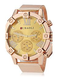 JUBAOLI® Men's Fashion Gold Case Steel Band Quartz Wrist Watch (Assorted Colors) Cool Watch Unique Watch