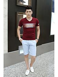 Tee-Shirt Pour des hommes A Motifs Décontracté Manches Courtes Coton / Spandex Bleu / Rouge