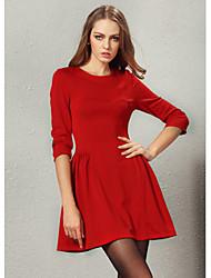 economico -vestito di colore solido delle TNL modo delle donne girocollo a manica lunga