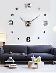 "39""W DIY 3D Mirror Small Numbers Acrylic Sticker Wall Clock Home Decoration"