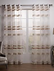 baratos -Dois Painéis Tratamento janela Moderno , Xadrez Sala de Estar Poliéster Material Sheer Curtains Shades Decoração para casa For Janela