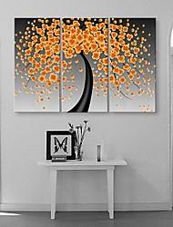 baratos -Estampados de Lonas Esticada Abstrato Fantasia Botânico 3 Painéis Vertical Estampado Decoração de Parede Decoração para casa