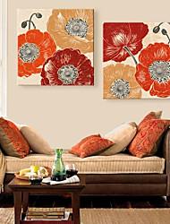 abordables -impression personnalisée sur toile fleurs voyantes 45x45cm 55x55cm peinture sur toile encadrée ensemble de deux