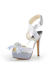 Women's Spring Summer Fall Winter Platform Ankle Strap Satin Wedding Stiletto Heel PlatformBlack Blue Pink Purple Red White Silver Gold