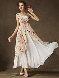 floral rosa vestido, praia / impressão / v maxi pescoço sem mangas das mulheres em camadas