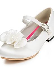 Недорогие -Девочки обувь Сатин Весна Осень Удобная обувь Обувь на каблуках Жемчуг для Свадьба Слоновой кости Белый Красный Розовый