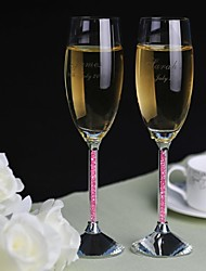 Personalized Toasting Flutes Pink Diamond Shank - Set of 2  Wedding Reception
