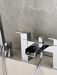 Contemporary Tub And Shower Waterfall Handshower Included with  Brass Valve Two Holes Two Handles Two Holes for  Chrome , Shower Faucet