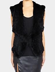 moda de luxo lapela imitação da pele das mulheres colete quente