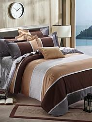 Streifen Bettbezug-Sets 4 Stück Baumwolle Zeitgenössisch Reaktivdruck BaumwolleDoppelbett ca. 1,50 m breites Doppelbett ca. 1,90 m