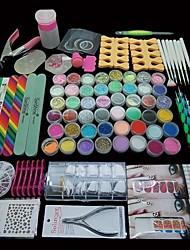 baratos -96pçs pro manicure Dicas de Decoração de arte acrílico brilho prego conjunto conjutno de ferramentas