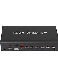 Недорогие -5 порт HDMI Splitter 1080p Switcher центром кабельного телевидения LCD HDTV, металлический корпус с адаптером питания