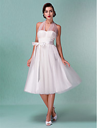 cheap -A-Line Halter Knee Length Satin Tulle Wedding Dress with Sash / Ribbon Bow by LAN TING BRIDE®