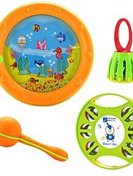 Недорогие -ребенок музыкальный инструмент четыре комплекта музыка бубен песок рукоятка молотка клетка кольцо колокол морские волны барабан ребенка развивающие