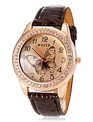 baratos -Mulheres Relógio de Pulso Com Strass / imitação de diamante PU Banda Borboleta / Fashion / Relógio Elegante Preta / Branco / Azul