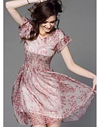 baratos -Mulheres Fofo Evasê Vestido - Estampado, Floral