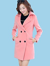 Cappotto Da donna InvernoTinta unita Lana Rosa / Rosso / Verde Manica lunga Medio spessore