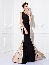 Mermaid / Trumpet One Shoulder Floor Length Jersey Prom Black Tie Gala Dress with Beading by TS Couture®