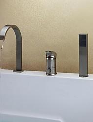 Contemporary Tub And Shower Waterfall Handshower Included Ceramic Valve Three Holes Single Handle Three Holes Nickel Brushed , Bathtub