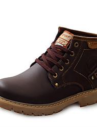 Недорогие -Муж. обувь Кожа Осень Зима Удобная обувь Ботинки Ботинки Черный Коричневый