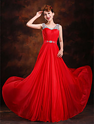 A-Line Princess Scoop Neck Sweep / Brush Train Silk Formal Evening Dress with Beading Crystal Detailing Draping Sash / Ribbon Sequins
